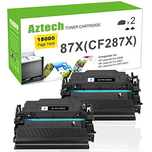 AZTECH Compatible Toner Cartridge Replacement for HP 87X CF287X 87A CF287A for HP Laserjet Enterprise M506dn M506N M506X M506,HP Laserjet Pro M501dn M501N,Laserjet MFP M527Dn M527Z M527F Printer-2PACK
