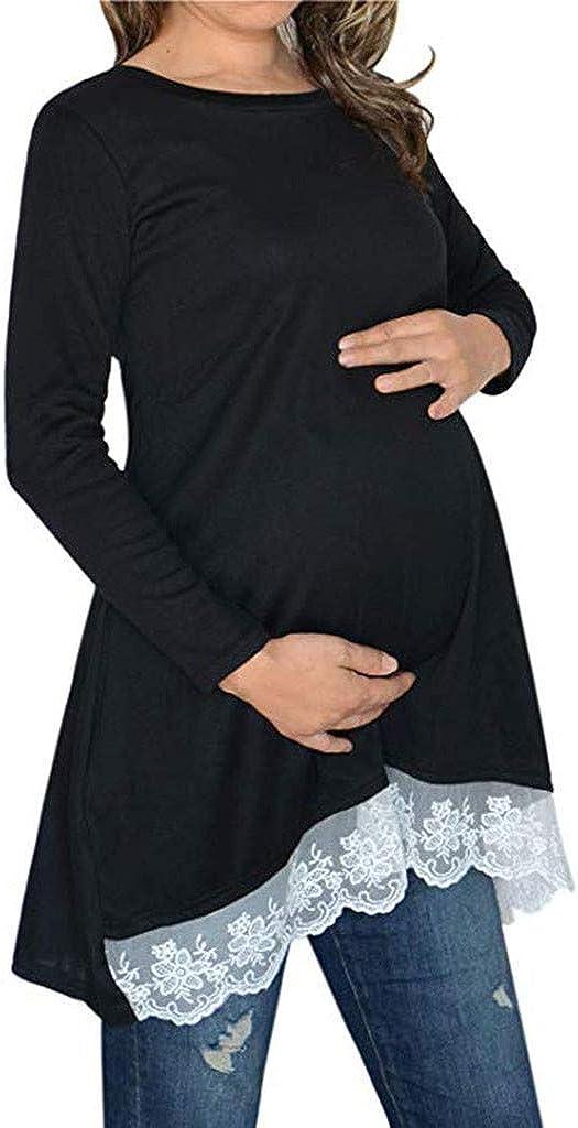 FRAUIT Maglia Premaman Divertenti Maniche Lunghe in Pizzo Premaman Camicia da Notte Manica Lunga Maglietta Gravidanza Divertente Magliette Premaman Estive Blusa Sweatshirt Top