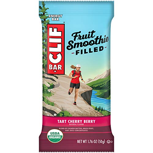 CLIF Fruit Smoothie Filled - Organic Energy Bars - Tart Cherry Berry Flavor - (1.76 Ounce Protein Snack Bars, 12 Count)