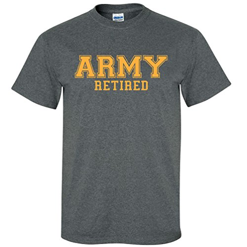 Army Retired GOLD Logo Short Sleeve T-Shirt in Dark Heather - X-Large