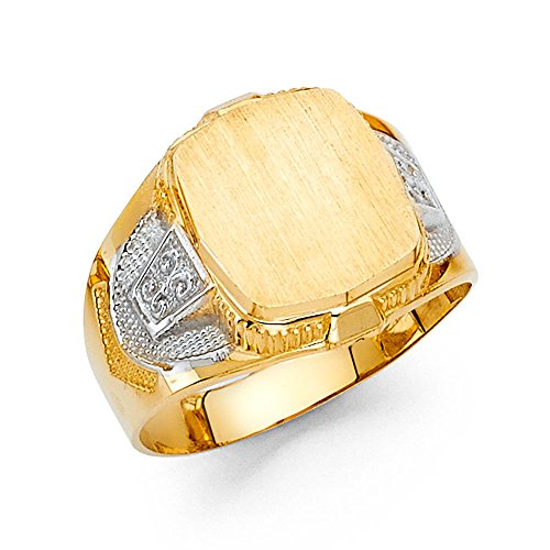 Mens Fancy Ring 14k Yellow & White Gold Solid Band Polished Diamond Cut Genuine Two Tone 16MM Size 8.5 (Fancy Ring Yellow Gold)