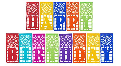Mexican TISSUE Papel Picado Banner HAPPY BIRTHDAY – Ideal for Mexican Theme Birthday Celebrations – Design and Colors as Pictured By Paper Full of W…
