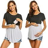 Ekouaer Women's Contrast Layered Nursing Top Short Sleeve Breastfeeding Tee Shirt Maternity Tunics (Dark Gray L)