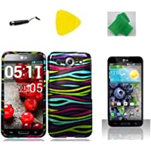 Rainbow Zebra Faceplate Hard Phone Case Cover Cell Phone Accessory + Yellow Pry Tool + Stylus Pen + EXTREME Band for LG Optimus G Pro E980 E940