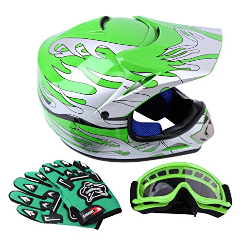 (Sange DOT Youth Kids Offroad Helmet Motocross Helmet Dirt Bike ATV Motorcycle Helmet Gloves Goggles (Green, Medium))