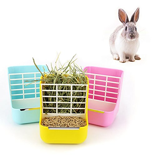 Hay Food Bin Feeder, Small Animal SuppliesHay Food Bin Feeder, Small Animal Supplies Rabbit Feeder Bunny feeder Guinea Pig Feeder Chinchilla Food Feeder - Double use for Grass and Food (YELLOW) by Okared (Image #5)