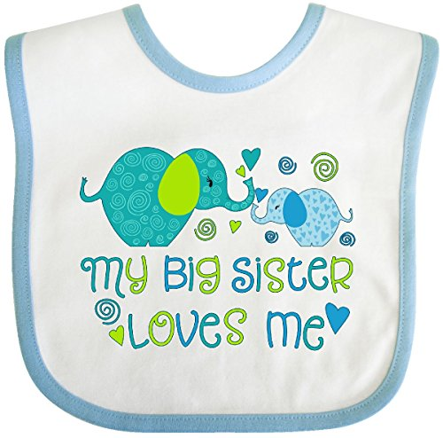 Inktastic - My Big Sister Loves Me- cute elephants Baby Bib White/Blue 2ece9 ()