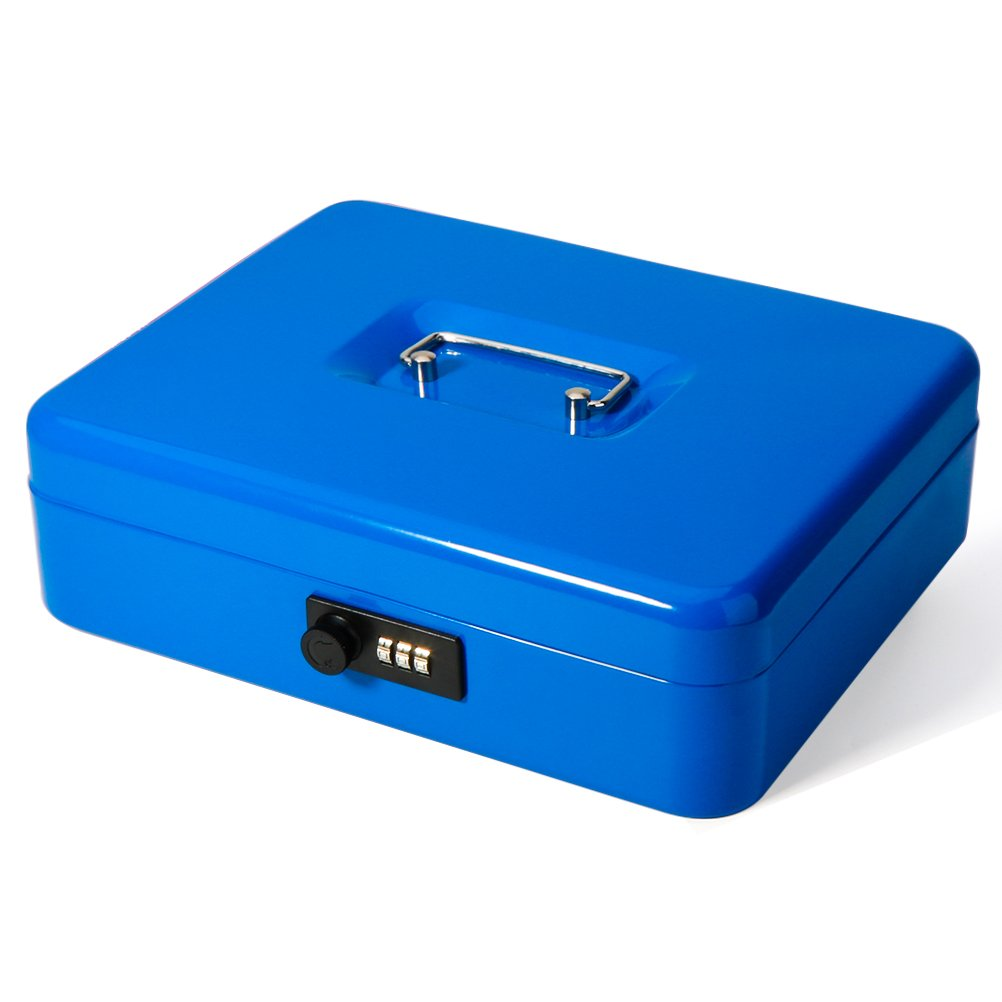 Safe Metal Cash Box with Money Tray & Combination Lock, Decaller Large Lock Storage Money Box with 5 Compartments Cash Tray, Blue, 11 4/5'' x 9 2/5'' x 3 1/2'', QH3002L