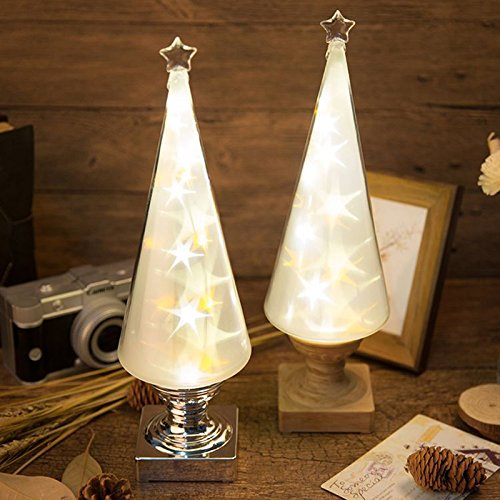 Zehui Retro Bulb Lamp Remote Control Wish Tree Meteor Lamp Charging LED Nightlight Valentine's Day Gifts Warm White + Yellow Light Battery Remote Control (Wood Base) by Zehui