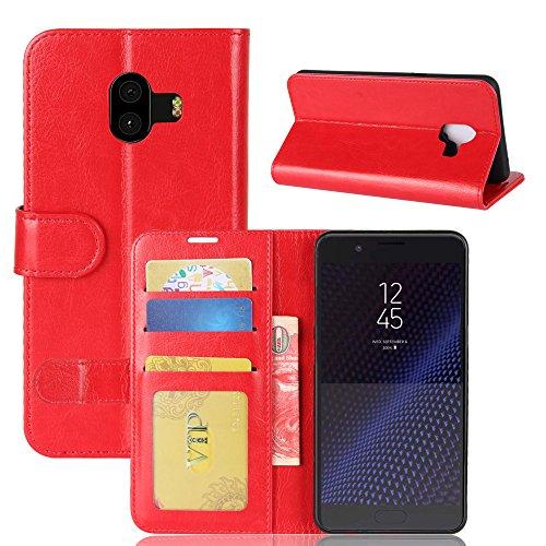 La cubierta de la caja de la cartera del teléfono para Samsung C10. GOGME Samsung C10 Flip Funda Funda para Teléfono, Premium PU Cartera de Cuero Conector para Celular, Celular Skin Poche Magnéticas C rojo
