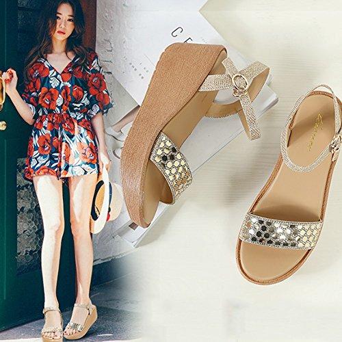 Zapatos palabra Zapatos las simple de sandalias sandalias deducción con sandalias flojas de los la altos talones femenino Pendiente las con salvajes de de Pendiente 2 Cómodo dulces verano color A la el q4wp8a