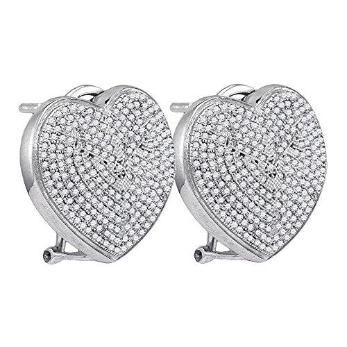 Roy Rose Jewelry Sterling Silver Ladies Diamond Heart Love Omega-back Earrings 1-Carat ()