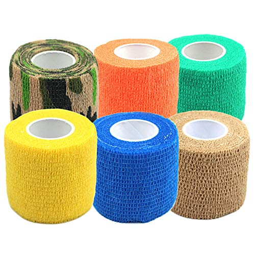 """(Susuntas 6 Colors Self-Adherent Cohesive Tape,Sports Wrap Tape ,Self-Adhesive Bandage Rolls, Ankle Finger Muscles Care Non-Woven Fabrics Wrist Support Bandage 2"""" x 5 Yards)"""