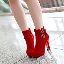 Single plush flowers rhinestone Horseshoe boots imported mill with waterproof short boots in red