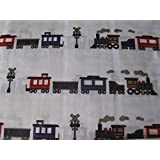 Charles Street Kids Collection TWIN Sheet Set - Train on White Background