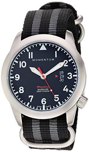 Momentum Men's Flatline Stainless Steel Swiss-Quartz Watch with Nylon Strap, Multi, 22 (Model: 1M-SP18BS7S