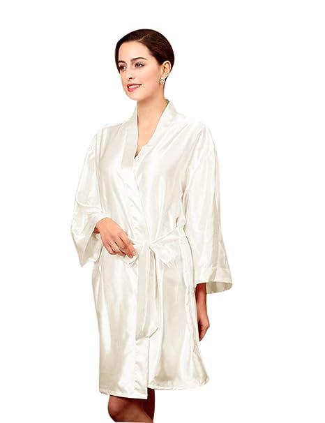 Mujer Albornoz Verano Satín Colores Sólidos Elegantes Batas Moda Bonita Moderno Fashionista Camisones Manga Larga V