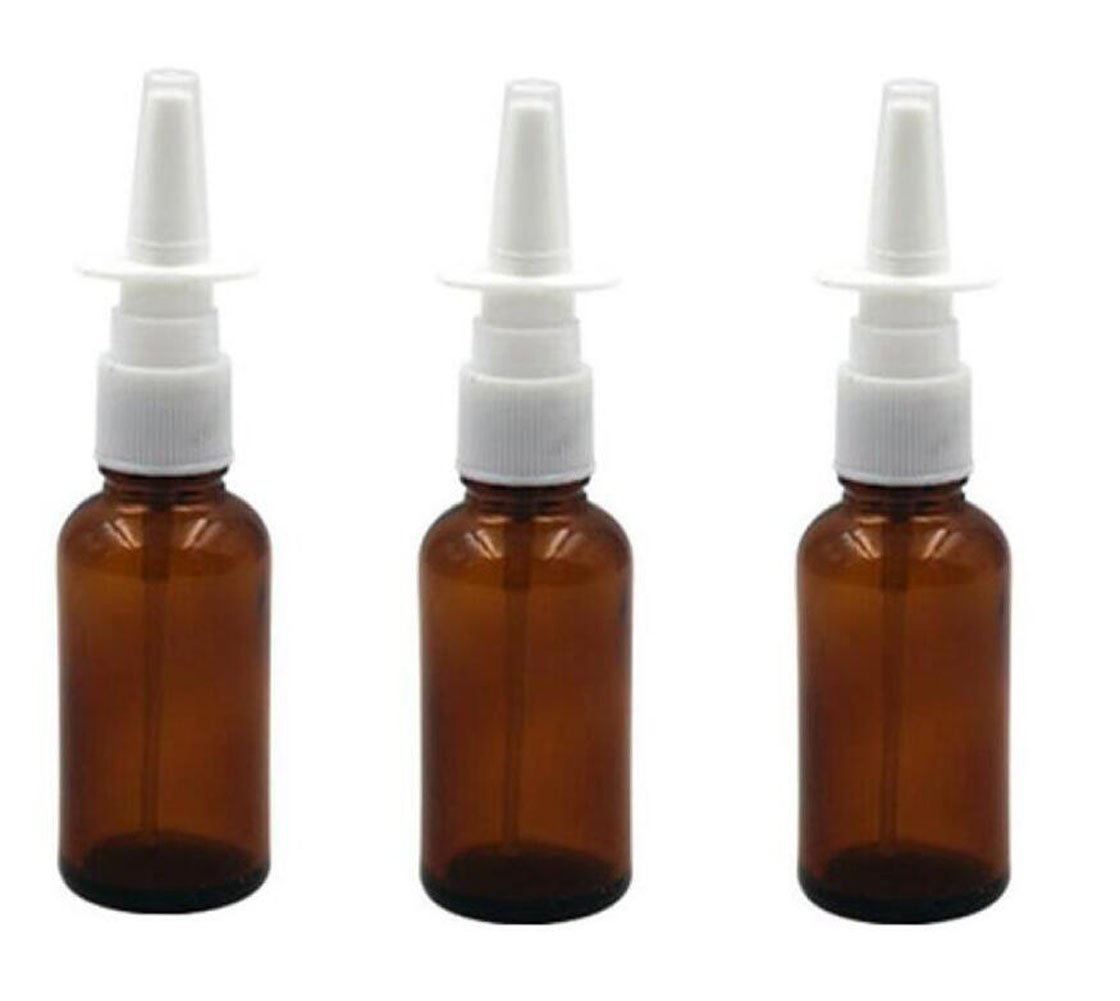 30ml (1oz) Amber Glass Empty Nasal Pump Sprayers Bottle Snoot Cleanser Container For Medical Saline Applications Dispensing Wash (Quality Improved) 1 Ounce (6PCS)