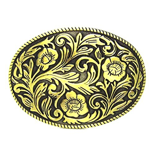 MASOP Western Engraved Flower Oval Belt Buckle Cowgirl Cowboy Rodeo Belt Buckles ()