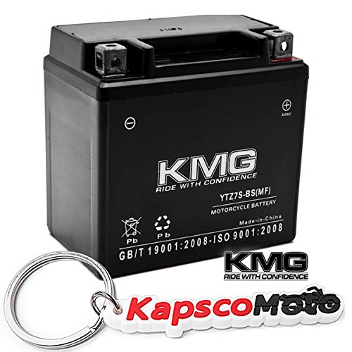 (KMG YTZ7S Sealed Maintenace Free 12V Battery High Performance SMF OEM Replacement Maintenance Free Powersport Motorcycle ATV Scooter Snowmobile Watercraft KMG + KapscoMoto Keychain)