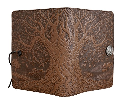 Genuine Leather Refillable Journal Cover + Hardbound Blank Insert - 6x9 Inches - Tree of Life, Saddle With Pewter Button - Made in the USA by Oberon Design by Oberon Design (Image #1)