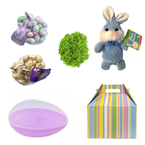 Easter Basket for Adults: Bunny, Chocolate Eggs, Easter Grass in a Large Easter Egg tissue wrapped in a GIFT BOX (Purple Egg, Blue Bunny)