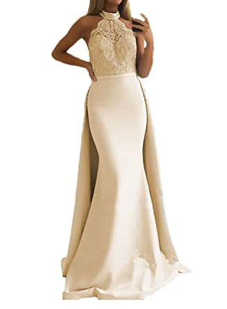 807b8d46b64 Sexy Halter Prom Dresses 2019 Long Mermaid Party Gowns Lace Formal Evening  Dresses for Women with Overskirt at Amazon Women s Clothing store