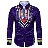 Men's Shirts On Sale, Jiayit Men's African Print Dashiki T-Shirt Autumn Long Sleeve Fashion Tops Tee (XL, Purple)