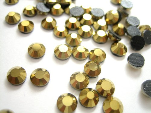 NEW ThreadNanny CZECH Quality 10gross (1440pcs) HotFix GOLD Rhinestones Crystals - 5mm/20ss GOLD Color (20ss Hot Fix)