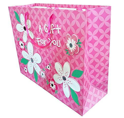 4-Pack Large Premium Quality Gift Bags (4, pink flower)