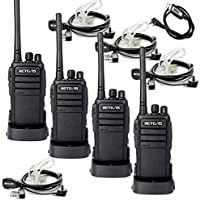 Retevis RT21 Two Way Radio Security 3W Scrambler 16 CH UHF 400-480MHz VOX Walkie Talkies(4 pack) and 2 Pin Covert Air Acoustic Earpiece(4 Pack) with Programming Cable