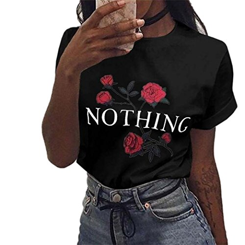 YANG-YI Clearance, Hot Women Fashion Spring Rose Printing Summer Loose Tops Short-Sleeved Blouse T Shirt (Black, XL)