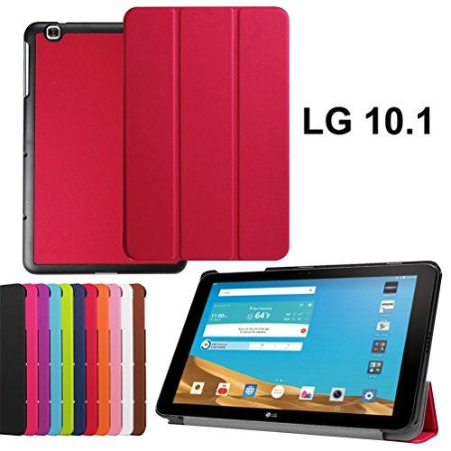 10.1 LG G Pad X Case Leather,LG G PAD X 10.1 Cover,LG V930 Leather Cover,[Folio Folding] Premium PU Leather Case for LG G Pad II 10.1 Back Case,LG Pad X 10.1 Case-Red