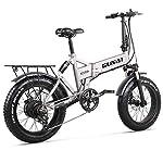 GUNAI-Pieghevole-Bici-Elettrica20-Pollice-Motore-500W-Batteria-al-Litio-48V128AHFreno-a-Doppio-Disco-Bicicletta-a-Rotolare-sulla-Neve-o-la-Sabbia-con-Sedile-PosterioreArgento