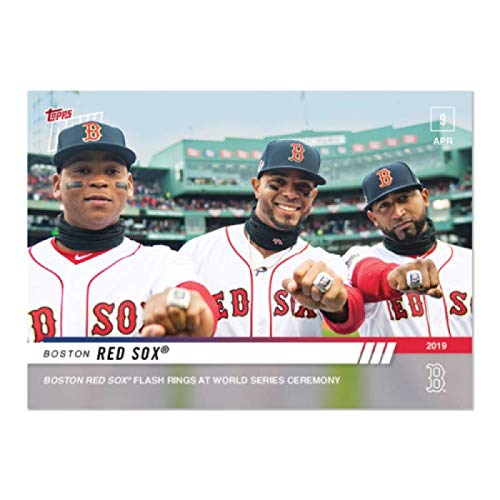 2019 Topps Now Baseball #67 Xander Bogaerts/Rafael Devers/Eduardo Nunez; Boston Red Sox Flash Rings at World Series Ceremony Print Run 423 Official MLB Trading Card Online Exclusive