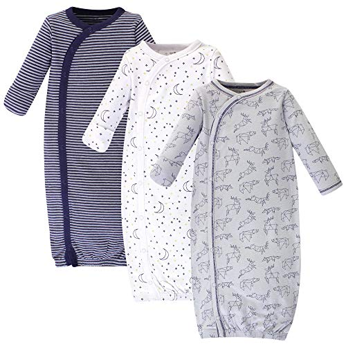 Touched by Nature Baby Organic Cotton Kimono Gowns, Constellation 3-Pack, Preemie/Newborn