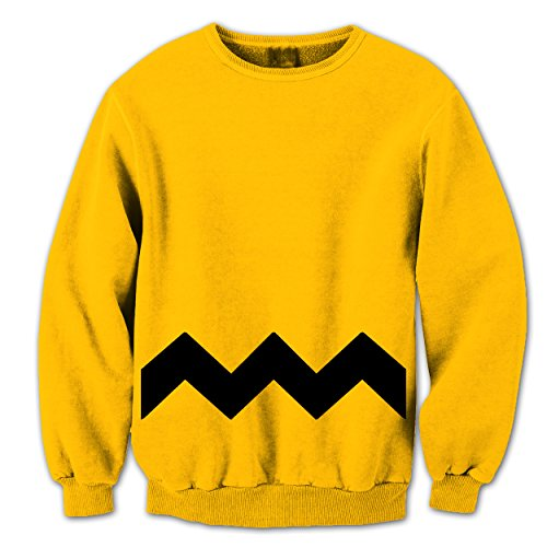 Adult Charlie Brown Costumes (Charlie Brown Stripe Halloween Costume Cartoon Outfit Adult Mens Sweatshirt Large Yellow)