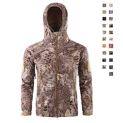 Military Ba Men's Mid Weight Bonded Hunting Jacket-Sand Python S
