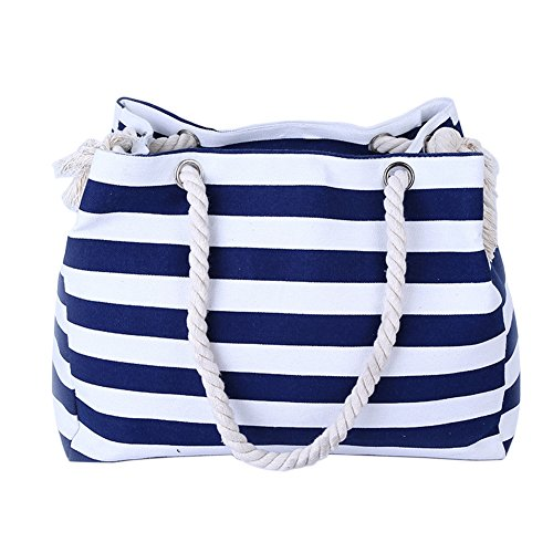 THEE Beach Bag with Inner Zipper Pocket Tote with Rope Handles ()