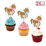 Sakolla Set of 24 Golden Unicorn Cupcake Toppers kids' Birthday Party Decors Baby Shower Wedding Ceremony Party Cake Food Decoration Supplies