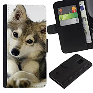 iBinBang / Flip Funda de Cuero Case Cover - Lobo Invierno Nieve Mascotas Canine - Samsung Galaxy S5 Mini, SM-G800, NOT S5 REGULAR!