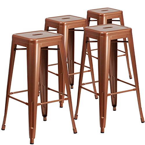 "Flash Furniture 4 Pk. 30"" High Backless Copper Indoor-Outdoor Barstool Review"