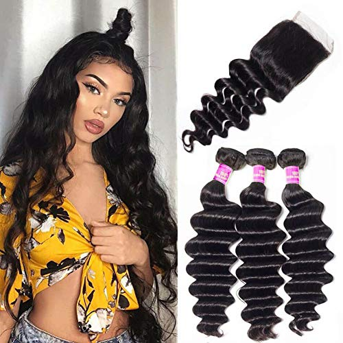 Ugrace Hair Bundles with Closure Brazilian Loose Deep Wave with Closure Virgin Human Hair with Closure Full and Thick Brazilian Hair with Closure Natural Color 14 16 18+14 Inch Free Part ()