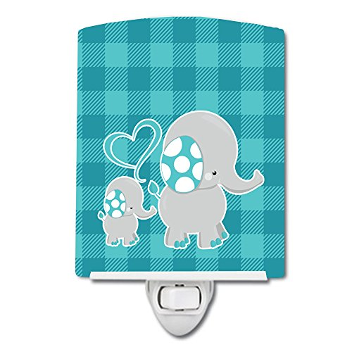 Caroline's Treasures Mommy and Baby Elephant Ceramic Night Light, Blue, -