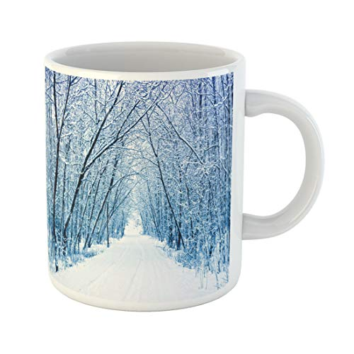 (Semtomn Funny Coffee Mug Blue Wonderland Winter Forest Path Snow White Park Scene Snowy 11 Oz Ceramic Coffee Mugs Tea Cup Best Gift Or Souvenir)