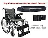 New Karman S-Ergo 115 ( S-Ergo115F18SS ) Ultra Lightweight Ergonomic Wheelchair with 18'' Seat Width, Swing Away Footrest in Silver & FREE Wheelchair Seatbelt!