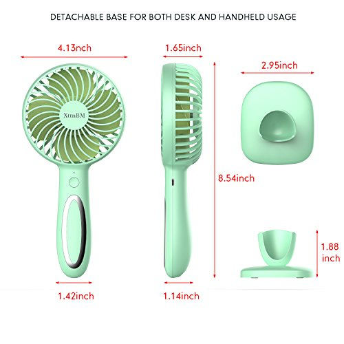 XttnBM Small Personal Desk Fan with 3-Speed and LED Lamp Portable Mini Cooling and Light for Outdoor Camping Travel Home Dorm Office Kids Rechargeable Battery Operated or Powered by USB Port (Green) by XttnBM (Image #1)