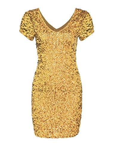 JustinCostume Women's Sequin Short Ruched Sleeve Bodycon Short Dress, XS, Gold (Sparkly Fancy Dress)