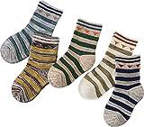 Searchself Boys Color Stripe Seamless Cotton Dress Socks (3-5 Years, set 3)