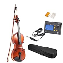 ammoon 1/2 Solid Wood Antique Violin Fiddle Matte Finish Spruce Face Board Acer Mono Back Board with ENO EMT-09GB 3-in-1 Electric Tuner + Metronome + Tone Generator Hard Case Bow Rosin